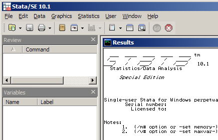 Stata program window with title in upper left corner