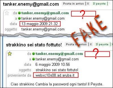 Le e-mails con provenienze false del peyote
