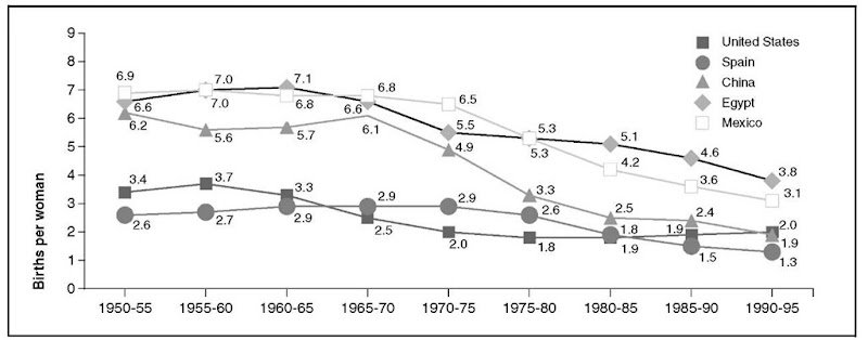 Total Fertility Rates: Selected Countries, 1950-1995.
