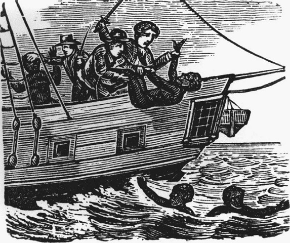 The Middle Passage. Sailors throw sick and dying slaves overboard during the Middle Passage, a term used to refer to the voyage of loaded slave ships across the Atlantic from Africa to the Americas.