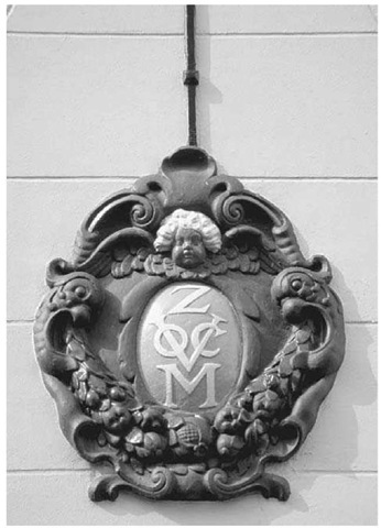 VOC Insignia. The insignia of the Dutch East India Company (VOC) adorns a building in Amsterdam.