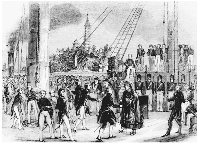 Signing of the Treaty of Nanjing. Chinese Mandarins met with British representatives onboard the HMS Cornwallis on August 29, 1842, to sign the Treaty of Nanjing, which ended the First Opium War. The scene is depicted in this 1842picture from The Illustrated London News.