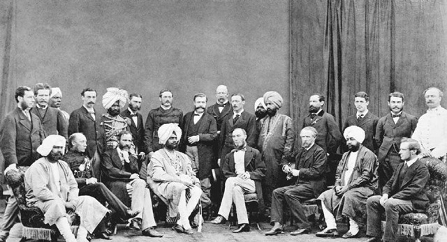 The Viceroy of India with Officials. Thomas George Baring, Earl of Northbrook (center front) and viceroy of India, poses with British and Indian officials at Simla, circa 1875.