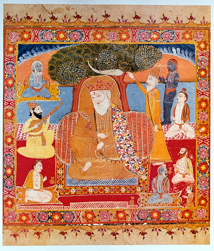 Guru Nanak with followers, done in the Kashmiri style, taken from the book, Guru Nanak: His Life and Teachings by Roopinder Singh, published by Rupa and Co, New Delh