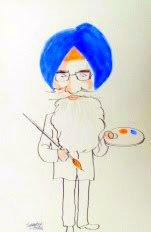Surjit Singh Barnala, a caricature by Sandeep Joshi