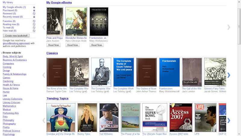 A screen grab of the Home page of the Google Books website