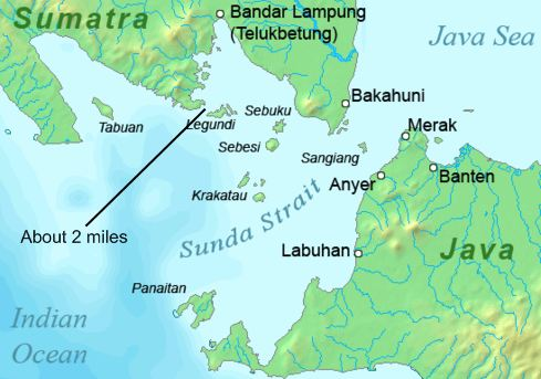 Sunda Straight between Sumatra and Java