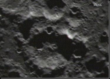 Fotografia tirada pela LCROSS logo antes de seu impacto (Foto: NASA)