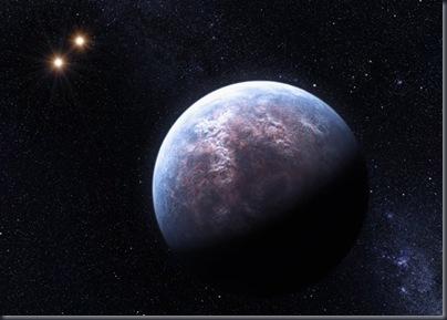 Concepção artística de exoplaneta com massa 6 vezes maior que a da Terra em órbita da estrela Gliese 667 C – integrante de um sistema triplo – a um vigésimo da distância entre a Terra e o Sol (Foto: ESO/L. Calçada)