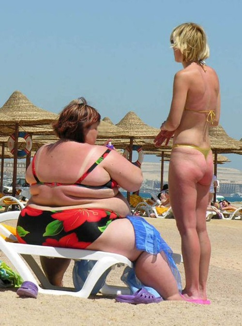 fatty on beach