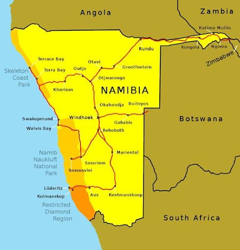 du caire au cap Map of Namibia Carte de la Namibie