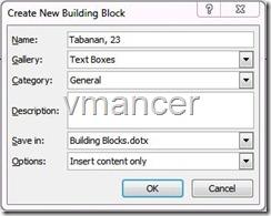 create new block windows - microsoft office word 2007