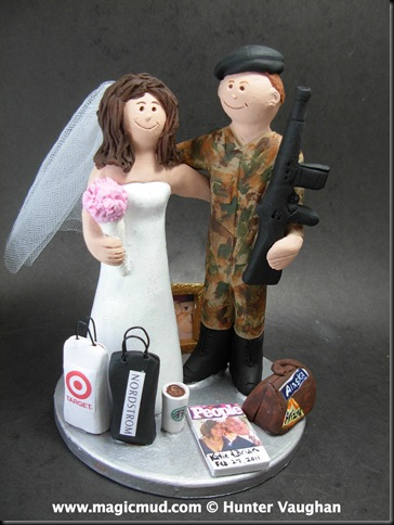 Army Groom Wedding Cake Topper This American soldier was more concerned