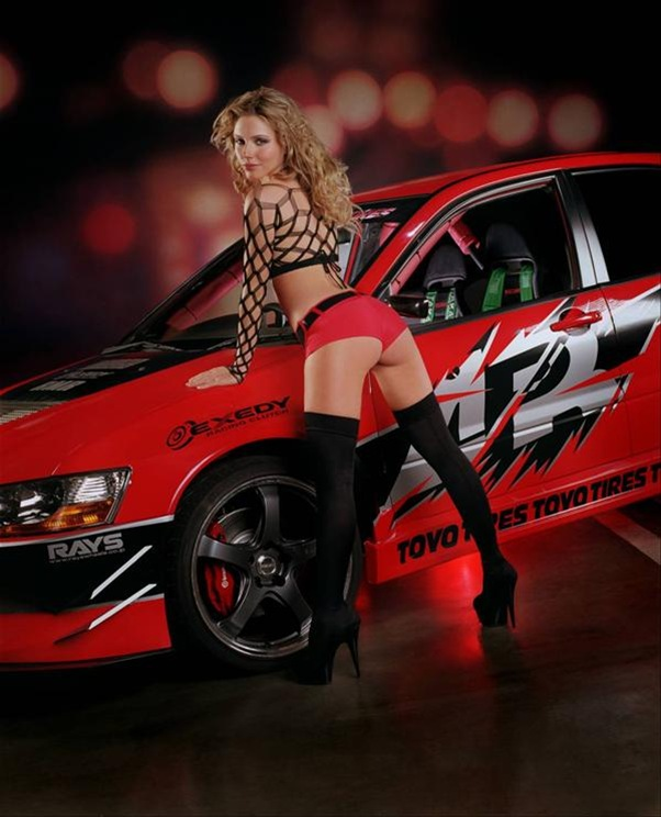 hot woman and hot car