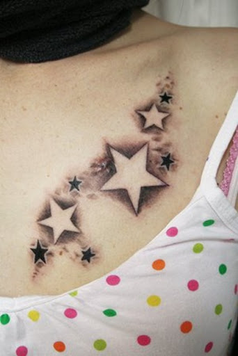 Girl tattoo on side Star and tribal tattoo design