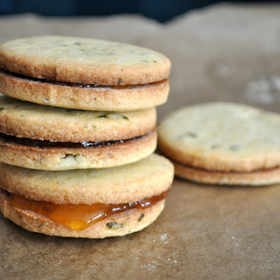 Basil Cornmeal Sandwich Cookies with Apricot Filling