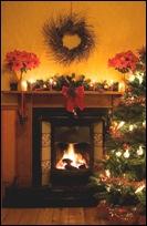 tile fireplace christmas