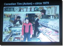 Chris O'Neill (~1979) at his family's Canadian Tire in Acton, Ontario