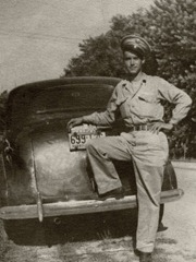 Dad leaning on car Antique