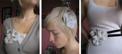 fabric flower broach, hair piece and belt tutorial and pattern