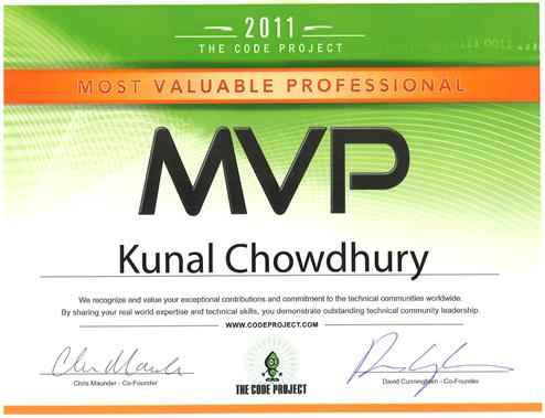 Code Project MVP Certificate - Kunal Chowdhury