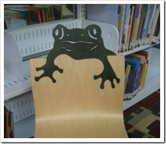 Frog chair in children's section