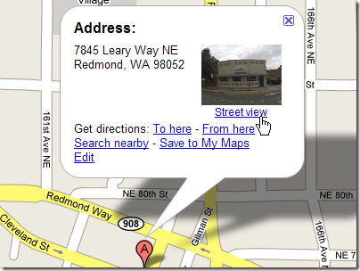 Google Street View: location dialog