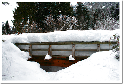 Gold Creek: snow covered foot bridge