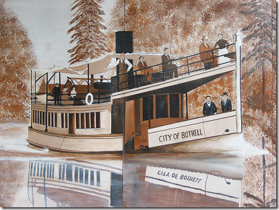Bothell Mural: river boat (click for larger view)