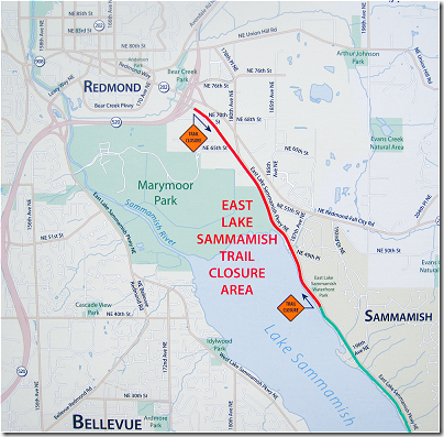 East Lake Sammamish Trail Closure (click for larger image)