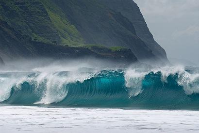 Large waves breaking on Kalaupapa leper colony beach on Molokai