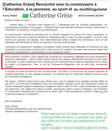 Catherine Grèze intervencion al nivèl europèu