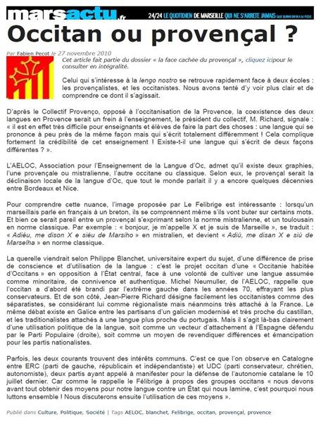 occitan o provençal