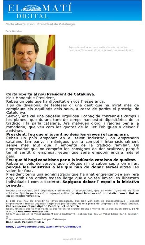 Letra al President Artur Mas ElMatí 291110 (cat)
