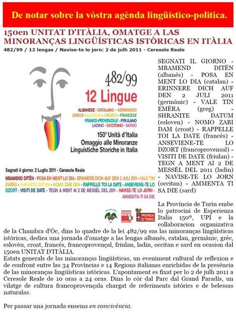 agènda lingüistico-politica en Itàlia 291110