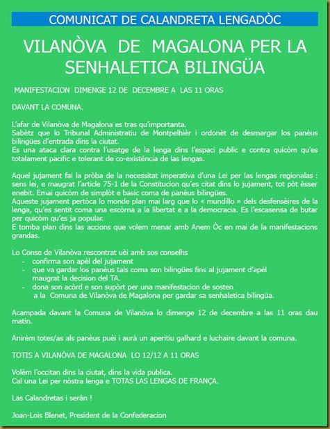 comunicat de Calandreta per la manifestacion de dimenge a Vilanòva de Magalona