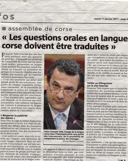 LES QUESTIONS ORALES EN LANGUE CORSE DEVRONT ETRE TRADUITE