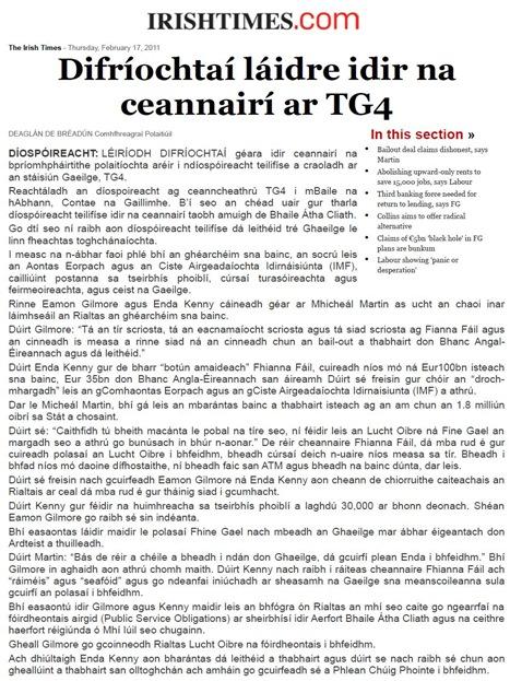 gaelic al debat en Irlanda TheIrishTimes 170211
