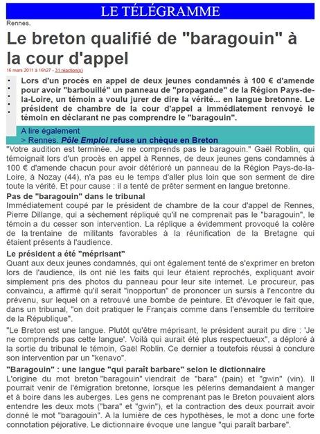 Breton baragouin justícia francesa LeTélégramme 160311