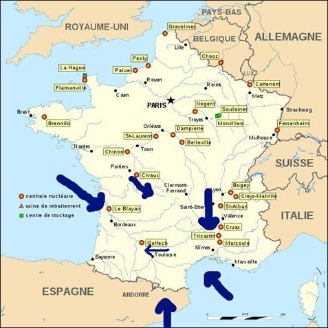 mapa nucleara francesa e vents dominants