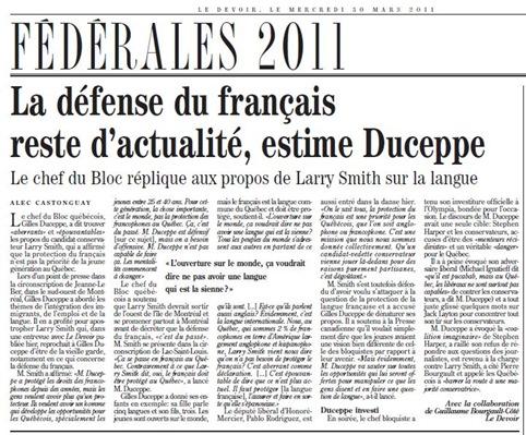 FÉDÉRALES 2011 LeDevoir 300311