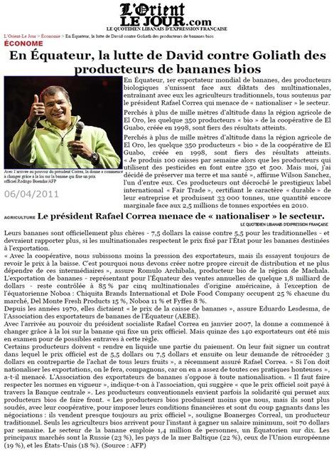 banana biòs Equador L'OrientJour 060411