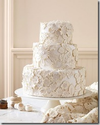 Embroidered Lace and Appliqued Wedding Cake from Martha Stewart Living