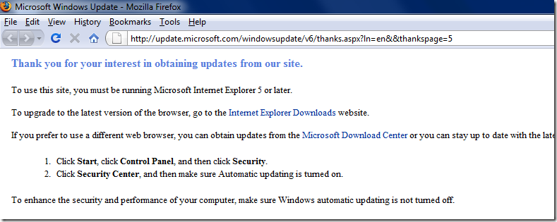 Firefox showing a Windows Update message asking to visit the site using the latest IE