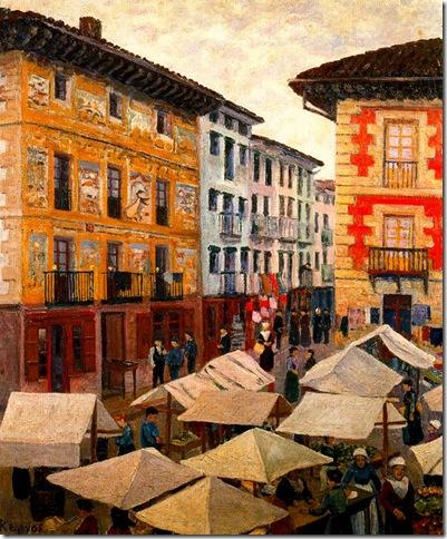 Darío de Regoyos -Mercado de Villafranca de Oria (1909)