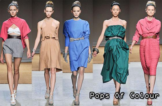 the collection included coral pinks, cornflower blue and forest green