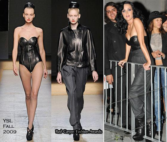Katy Perry's look was head-to-toe YSL as she paired the leather bustier with dark gray pants