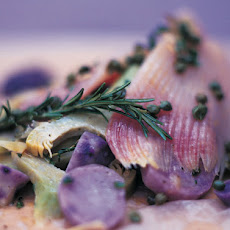 Skate Baked In The Bag With Artichokes, Purple Potatoes, Capers & Crème Fraîche