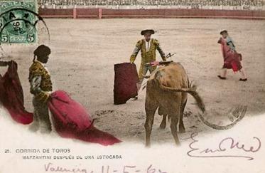 Mazzantini toreando 1906 (fecha postal) Despues de una estocada