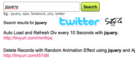 Twitter like Search with jQuery and  Ajax.